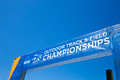 Ncaa outdoor track and field championships eugene or usa june entrance banner for the located at hayward on the university Stock Image