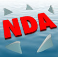 Nda non disclosure agreement sharks danger restriction sharing s acronym in red d letters on water surrounded by circling to Stock Photo
