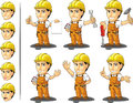 Ndustrial construction worker mascot a vector set of a male in several poses drawn in cartoon style this vector is very good for Royalty Free Stock Images