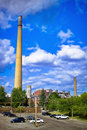 Ndustrial stack at nickel plant with blue sky as background Royalty Free Stock Images