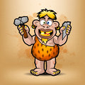 Neanderthal holds stone and hammer illustration format eps Stock Photo