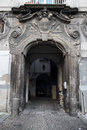 Neapolitan baroque gate old house entrance in naples italy Royalty Free Stock Photos