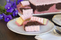 Neapolitan cake delicious sliced laid out for afternoon tea Stock Photography