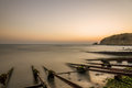 Near fishing village. Long exposure sea sunrise Royalty Free Stock Photo