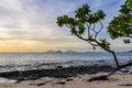 Nearby islands from Mana Sunset Beach in Fiji Royalty Free Stock Photo