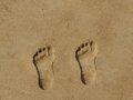 Neat footprints in the sand Stock Image