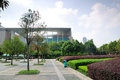 Neat square this is china nanjing library in front of the green a newly planted trees the bushes Royalty Free Stock Photos