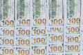 Neatly arranged background of dollar bills american with all the numbers aligned in rows in a conceptual financial Royalty Free Stock Photo
