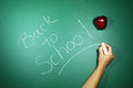 Neatly back to school written in chalk on a green blackboard Stock Photography