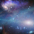 Nebulous filaments swirl and gather deep space in Royalty Free Stock Images