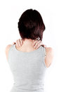 Neck ache young woman with making massage to avoid pain Stock Photo