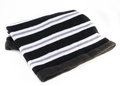 Neck comforter black neckcloth with white stripes isolated on white background Royalty Free Stock Images