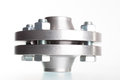 Neck flanges two connected together and bolted isolated Stock Image
