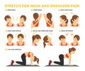 Neck and shoulder exercise. Stretch to relieve neck pain Royalty Free Stock Photo