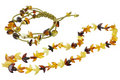 Necklace and Bracelet Made of Amber Isolated Royalty Free Stock Photo