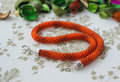 Necklace from bright orange beads among dry petals close up Stock Photo