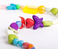 Necklace children s of beads and plastic Royalty Free Stock Images