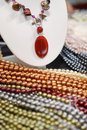 Necklace and colorful pearl strands Royalty Free Stock Photo