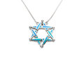 Necklace decorated by turquoise in islamic symbol shape beautiful silver Stock Images
