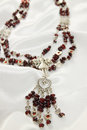 Necklace with a garnet luxurious beautiful silver accents Royalty Free Stock Image