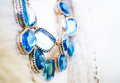 Necklace jewelry crown jewels blue metal ornate Royalty Free Stock Photos