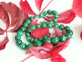 Necklace in malachite Royalty Free Stock Photo