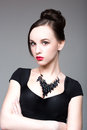 Necklace on the neck portrait of a beautiful girl Stock Photo