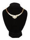 Necklace with pearl on black mannequin isolated on white Royalty Free Stock Photo