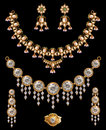 Necklace sets indian gold isolate on black Royalty Free Stock Photo