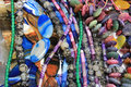Necklaces many made of colorful semiprecious stones Royalty Free Stock Image
