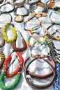 Necklaces at the market on white background Stock Photography