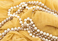 Necklaces from white and beige pearls Stock Photo