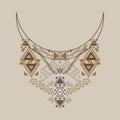 Neckline design in ethnic style for fashion. Aztec neck print Royalty Free Stock Photo