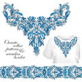 Neckline embroidery fashion, print, decor, lace, paisley, stock vector. Luxury flowers collar designe