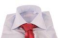 Necktie on a shirt under the white background Royalty Free Stock Images