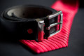 Necktiebelt leather belt and necktie set Stock Images