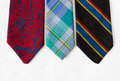 Neckties on White Cloth Stock Photography