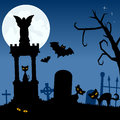 Necropolis with black cats and bats halloween night scene background the moon over a creepy graveyard gravestones flying eps file Stock Image