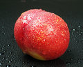 Nectarine on black Stock Image