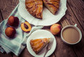 Nectarine cake delicious homemade on wooden background toned picture Stock Image