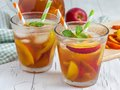Nectarine iced tea two glasses of refreshing homemade Royalty Free Stock Image