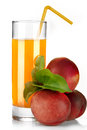 Nectarine juice isolated on white Royalty Free Stock Photo