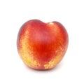 Nectarine a single ripe isolated on white Royalty Free Stock Images