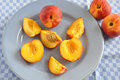 Nectarines fresh ripe on a plate Stock Image