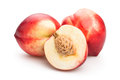 Nectarines group on white background Royalty Free Stock Photos