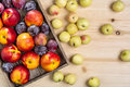 Nectarines and plums in a box, peaches on a table. Royalty Free Stock Photo