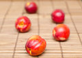 Nectarines on wood fresh an a wooden japanese table cloth Royalty Free Stock Photos