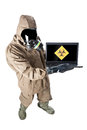 We need an antivirus a man wearing nbc suite nuclear biological chemical Stock Photos