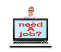 Need a job female doctor and big laptop with Royalty Free Stock Photography