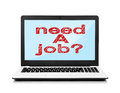 Need a job on screen laptop with white background Royalty Free Stock Photos